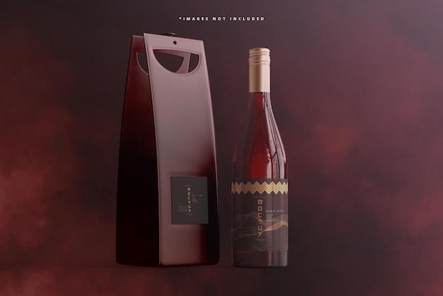 Zakręcana butelka wina z torbą lub makietą