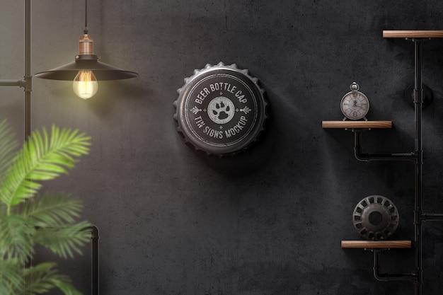 Zakrętka znaki makieta na ścianie