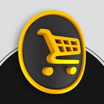 Zakupy ikona yallo renderowania 3d