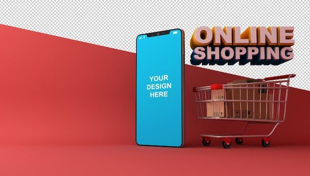 Zakupy online aplikacja mobilna w renderowaniu 3d