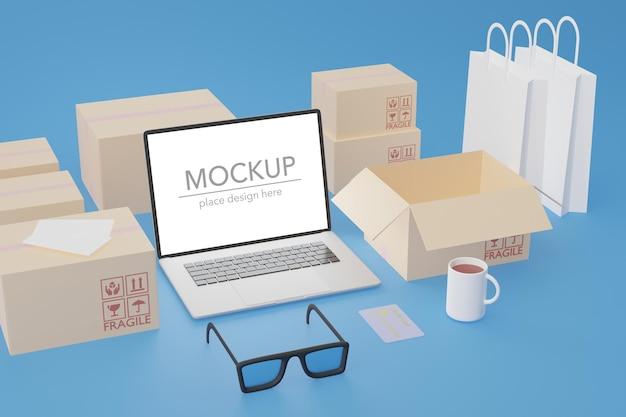 Zakupy online e-commerce z makietą laptopa i pudełek w renderowaniu 3d