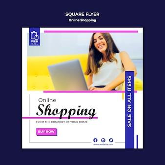 Zakupy online koncepcja szablon kwadratowych ulotki