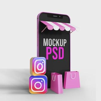 Zakupy online na instagramowej ilustracji z makietą smartfona