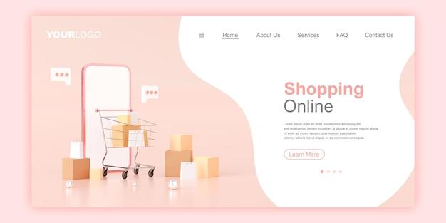 Zakupy online szablon strony docelowej banera internetowego ilustracja 3d