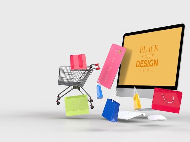 Zakupy online z szablonem makiety komputera i elementami zakupów