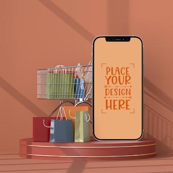 Zakupy online za pomocą szablonu makiety elementów mobilnych i zakupów