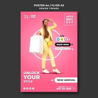 Zakupy plakat szablon kobieta