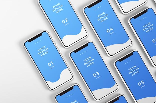Zamknij się makieta smartfonów