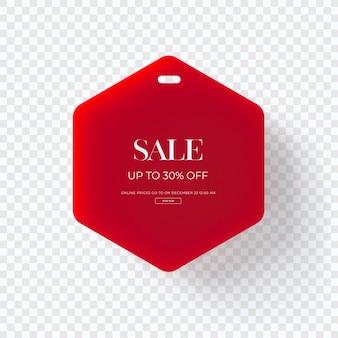 Zamknij się na 3d czerwony sprzedaż tag ubrania samodzielnie