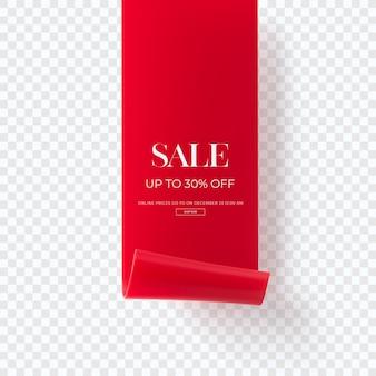 Zamknij się na 3d czerwony sztandar sprzedaży na białym tle