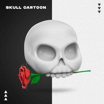 Zamknij się na czaszce z różą w renderowaniu 3d