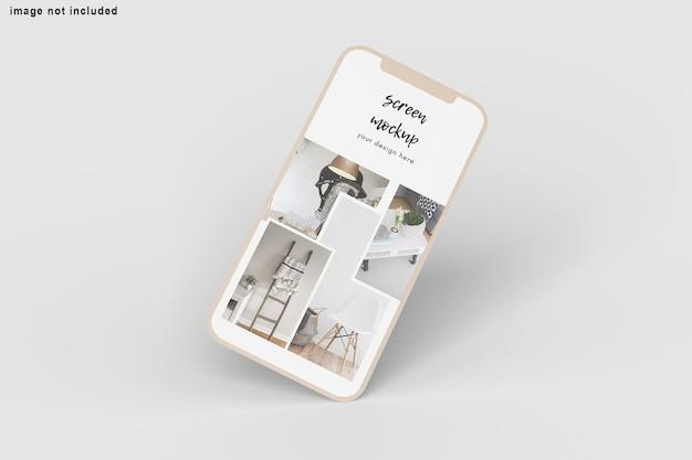 Zamknij się na ekranie telefonu makieta na białym tle