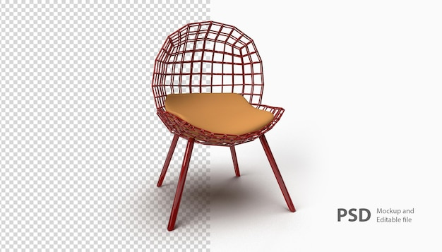 Zamknij się na krześle na białym tle w renderowaniu 3d