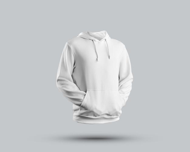 Zamknij się na makiecie dorywczo bluza z kapturem na białym tle