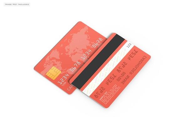 Zamknij się na makiecie karty kredytowej na białym tle