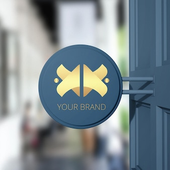 Zamknij się na makiecie logo marki sklepu znak