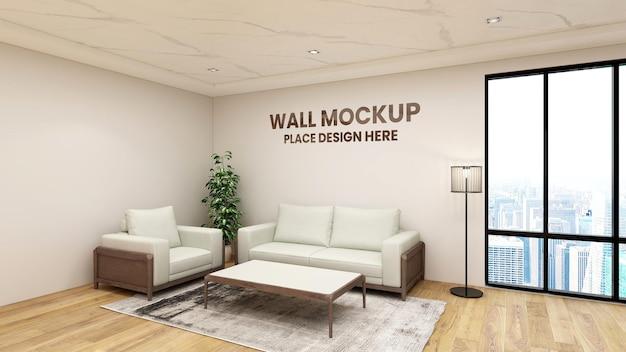 Zamknij się na makiecie logo w holu biura projekt wnętrz poczekalni