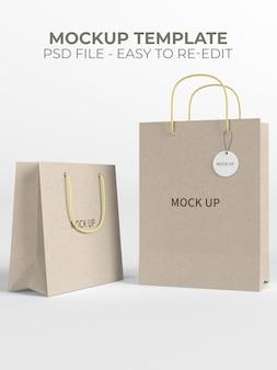 Zamknij się na makiecie papierowej torby na zakupy