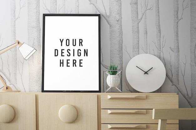Zamknij się na makiecie plakatu lub ramki na zdjęcia