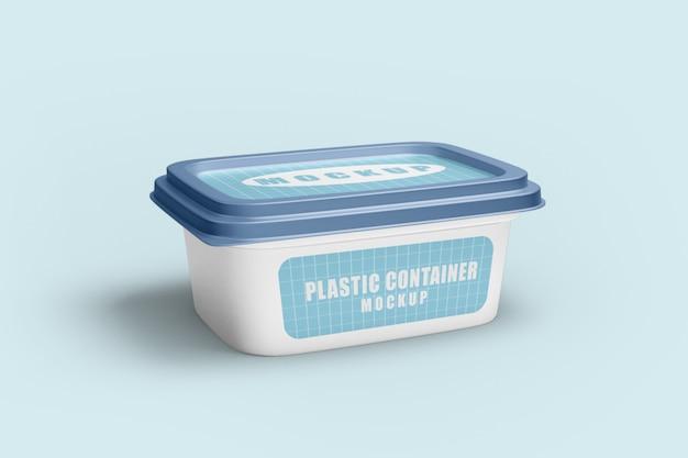 Zamknij się na makiecie plastikowego pojemnika na żywność