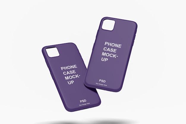 Zamknij się na makiecie przypadku telefonu na białym tle