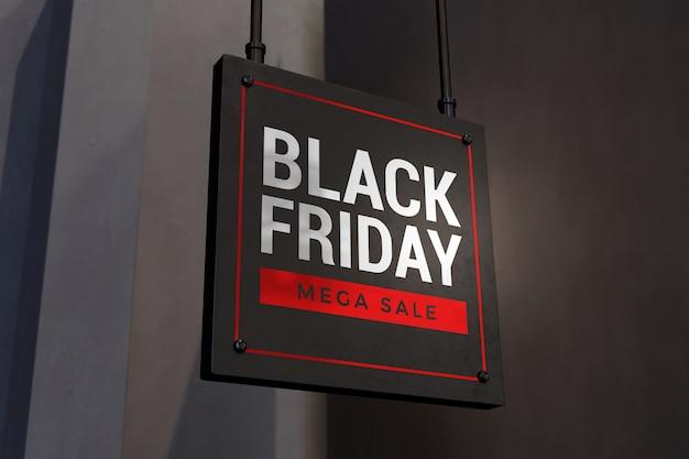 Zamknij się na makiecie znak koncepcja czarny piątek