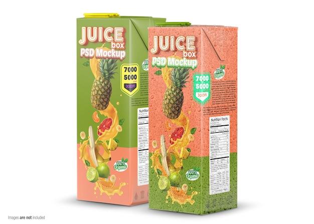 Zamknij się na makieta juice box na białym tle