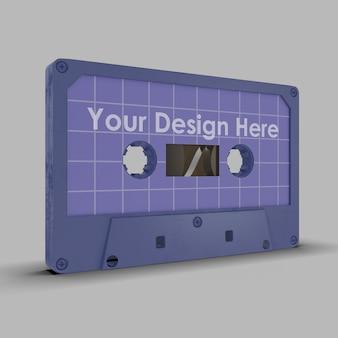 Zamknij się na na białym tle makieta kasety