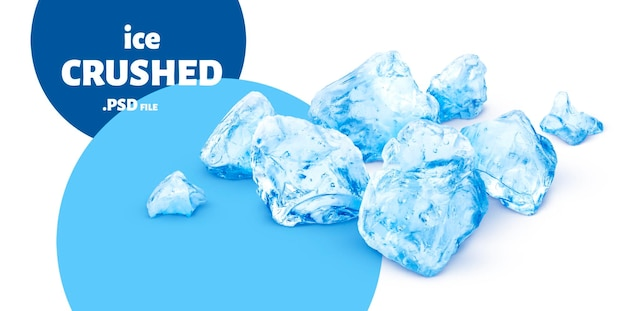 Zamknij się na niebieskim kruszonym lodzie na białym tle