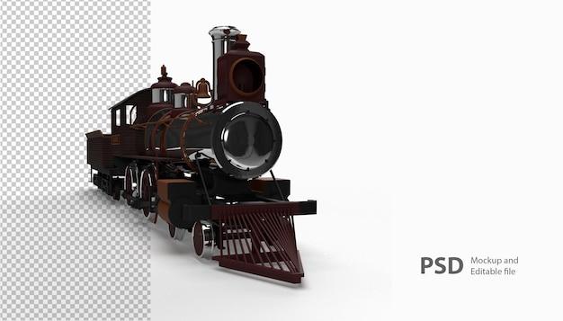 Zamknij się w pociągu w renderowaniu 3d na białym tle