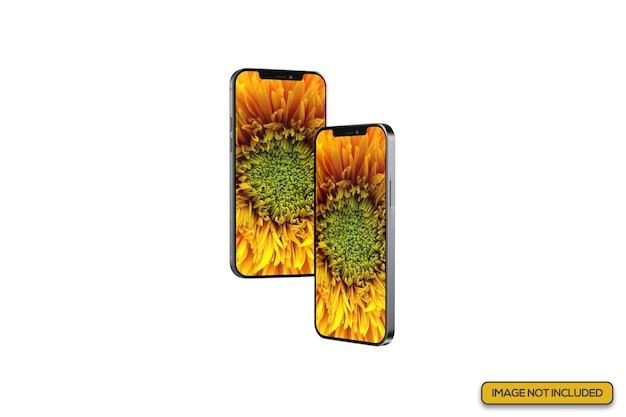 Zamknij widok makiety podwójnych smartfonów