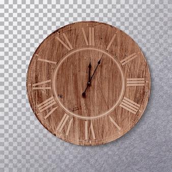 Zamknij widok na drewnianą godzinę na białym tle