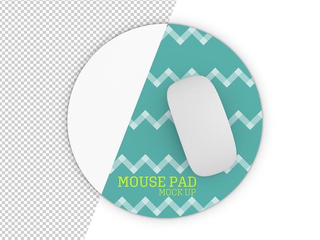 Zaokrąglona podkładka makieta myszy na białym tle
