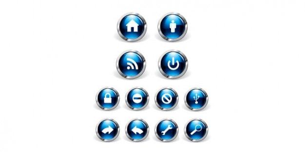 Zaokrąglone niebieskie ikony projektowania