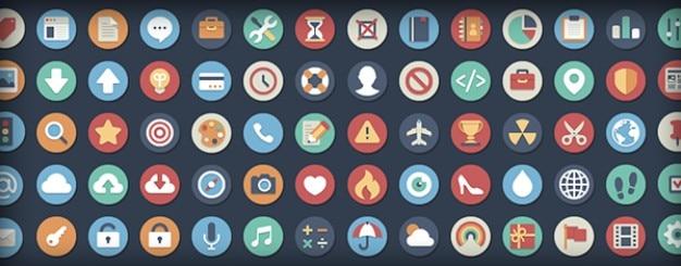 Zaokrąglone płaskie ikony w dwóch wersjach