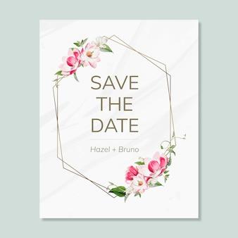 Zapisz datę ślubu zaproszenie makieta karty