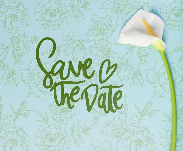 Zapisz makietę koncepcji kwiatów z datą