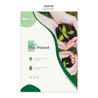 Zapisz szablon plakatu planety z ręcznymi roślinami w glebie