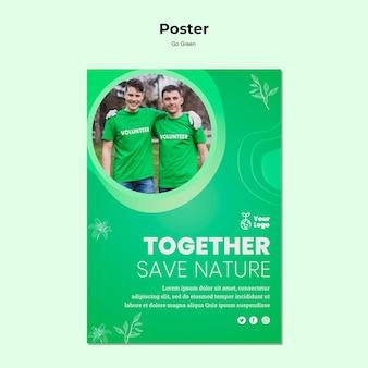 Zapisz szablon plakatu przyrody razem