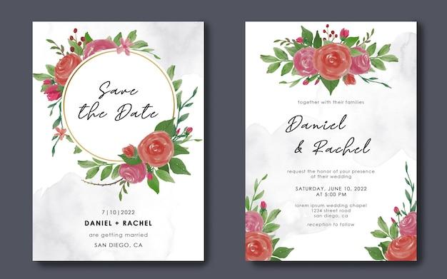 Zapisz szablony kart z datą i zaproszenia ślubne z akwarelowymi dekoracjami kwiatowymi