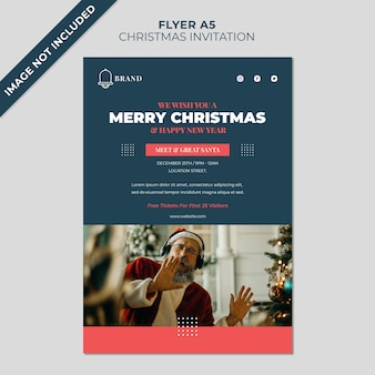 Zaproszenia świąteczne spotykają się i pozdrawiają szablon okładki ulotki świętego mikołaja
