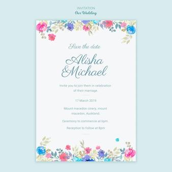 Zaproszenie koncepcja kolorowy ślub