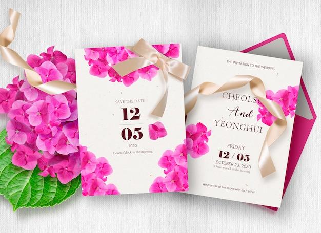 Zaproszenie na ślub edycji kwiat hortensji