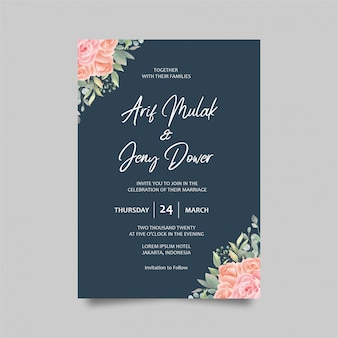 Zaproszenie na ślub karty szablon dekoracji róże akwarela i kolor niebieski