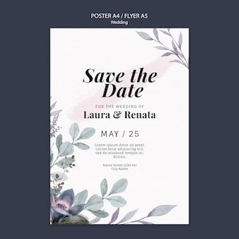 Zaproszenie na ślub plakat szablon projektu