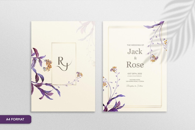 Zaproszenie na ślub w stylu vintage z fioletowym kwiatem