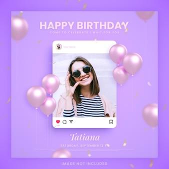 Zaproszenie z okazji urodzin dla fioletowego szablonu postu na instagramie w mediach społecznościowych z makietą