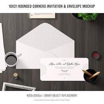 Zaproszenie zaokrąglone rogi i makieta koperty