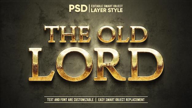 Zardzewiały złoty średniowieczny stary lord dramatyczny edytowalny efekt tekstowy stylu warstwy obiektu inteligentnego