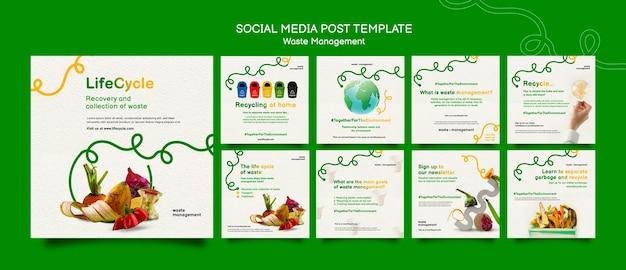 Zarządzanie odpadami szablon postu w mediach społecznościowych
